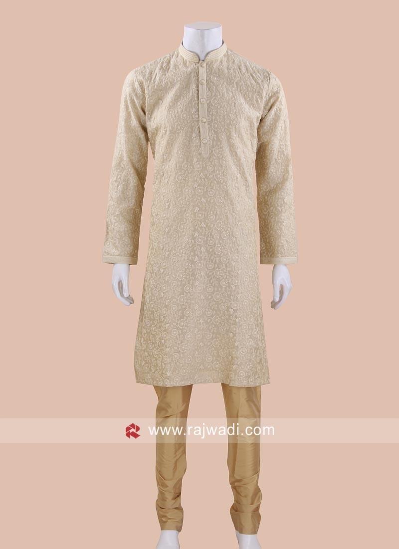 Trendy Golden Cream Kurta Pajama