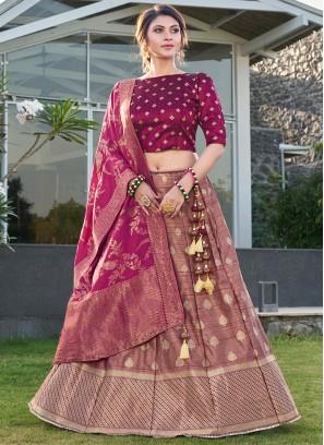 Trendy Lehenga Choli Weaving Silk in Purple