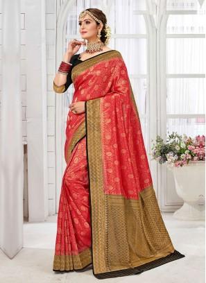 Trendy Red And Black Color Banarasi Silk Saree