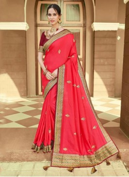 Trendy Saree Embroidered Silk in Pink