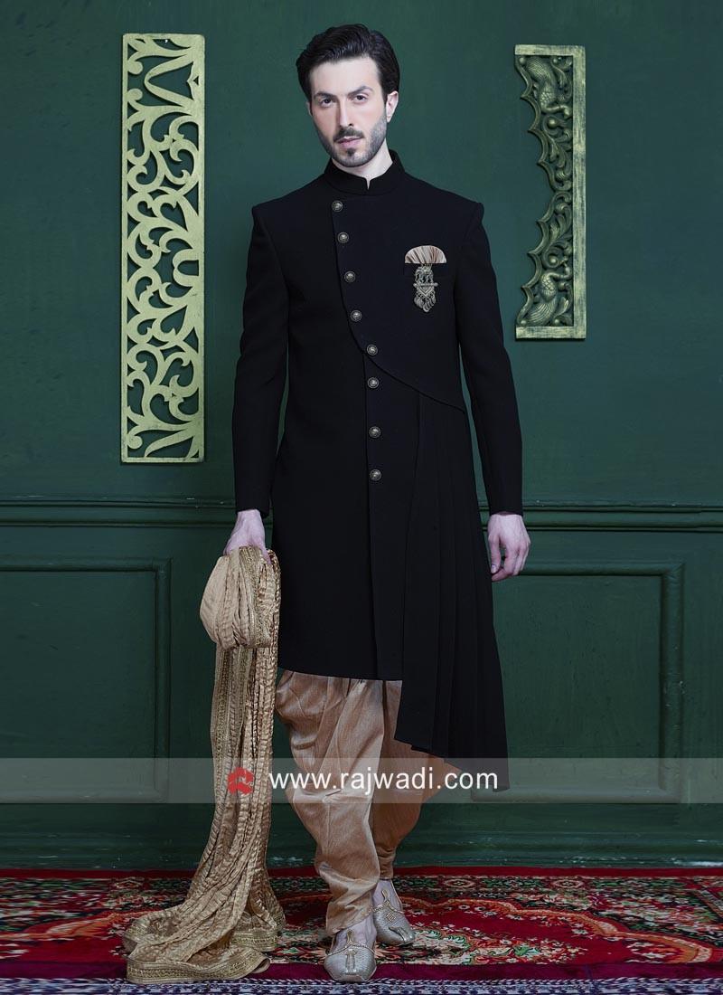 Velvet Fabric black Indo Western