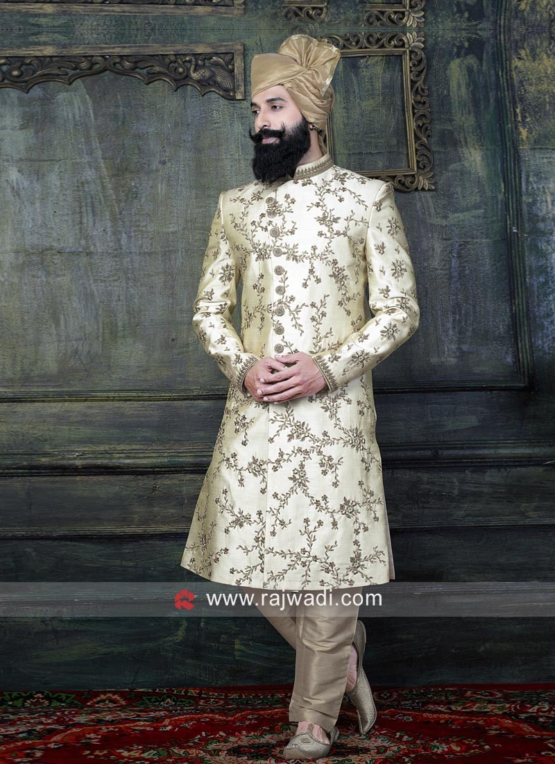 Cream Zari Work Indo Western