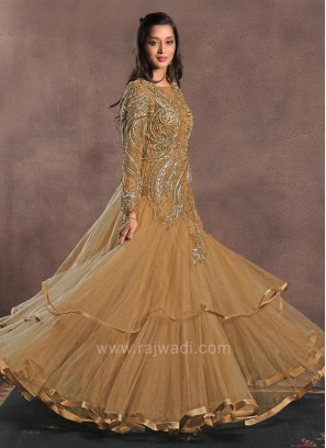 Triple Layer Net Sheer Embroidered Gown