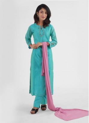 Trouser Salwar Kameez Suits In Firozi Color