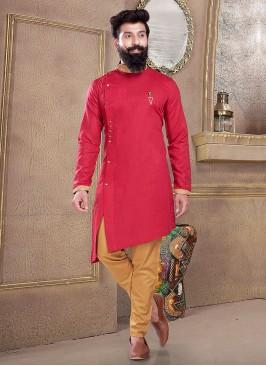 Kurta Pajama In Rani And Golden
