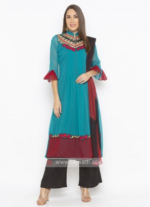 Turquoise and black color palazzo style suit