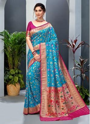 Turquoise And Rani Color Banarasi Silk Saree