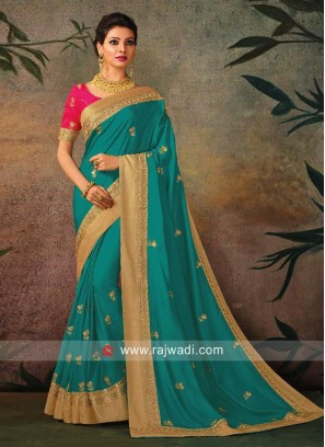 Turquoise Blue Saree with Golden Border