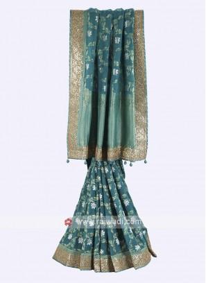 Turquoise color banarasi silk saree