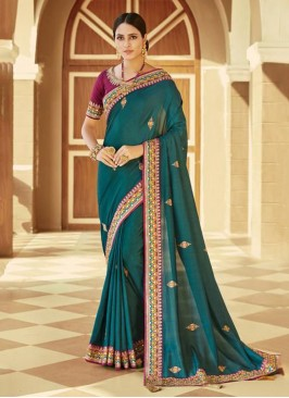 Turquoise Silk Embroidered Contemporary Saree