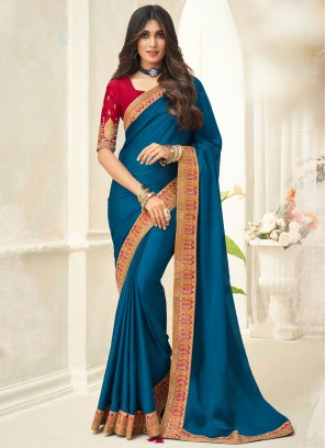 Turquoise Silk Traditional Saree