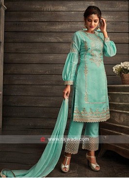 Turquoise Straight Fit Suit with Cutwork Border