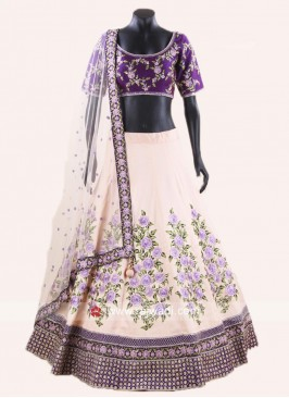 Tussar Silk Embroidered Lehenga Set