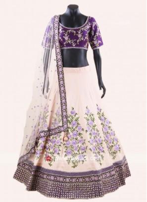 Tussar Silk Embroidered Lehenga Set