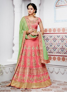 Two Tone Bridal Embroidered Lehenga Saree