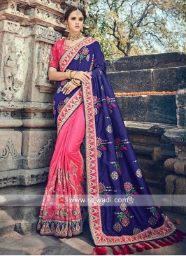Two Tone Color Embroidered Sari with Blouse