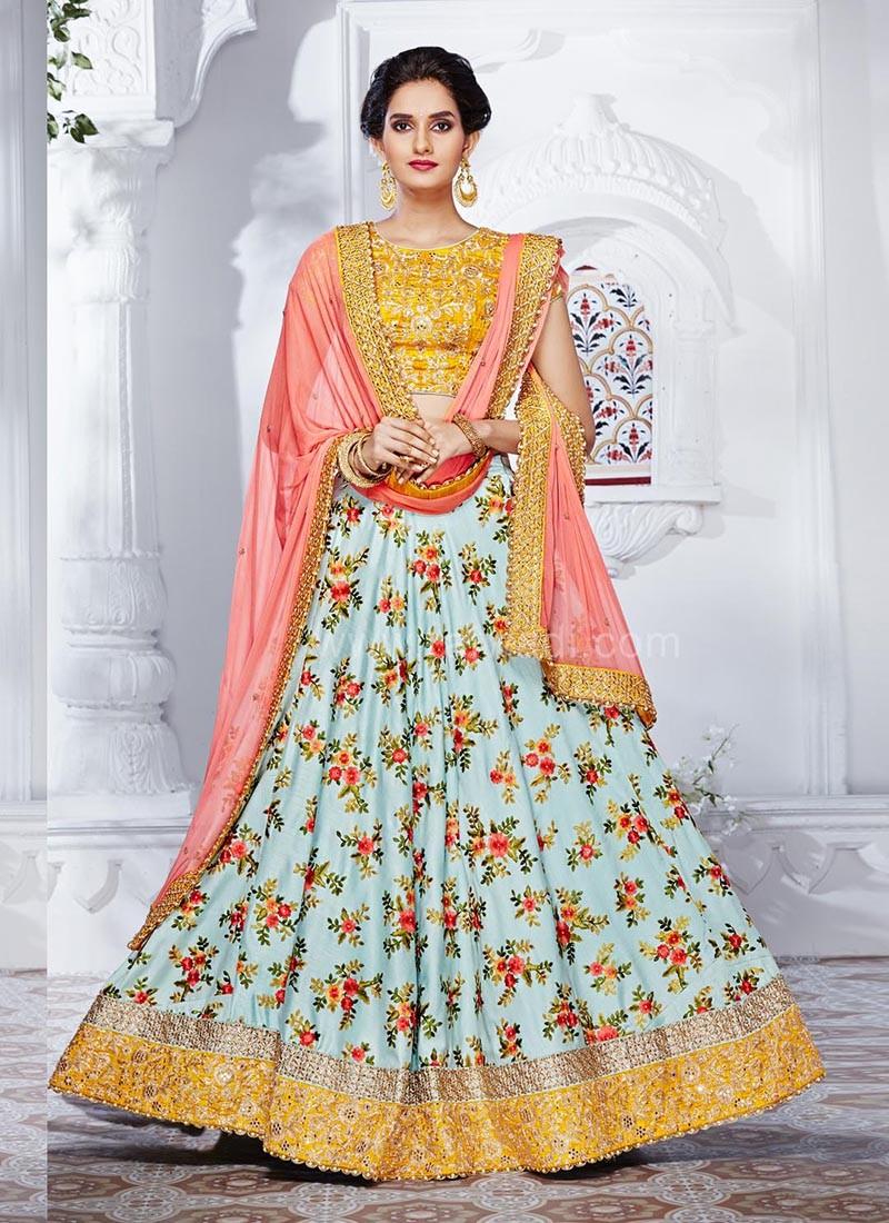 Two Tone Designer Wedding Lehenga Saree