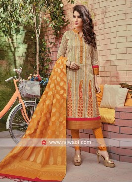 Two Tone Embellished Churidar Set with Dupatta