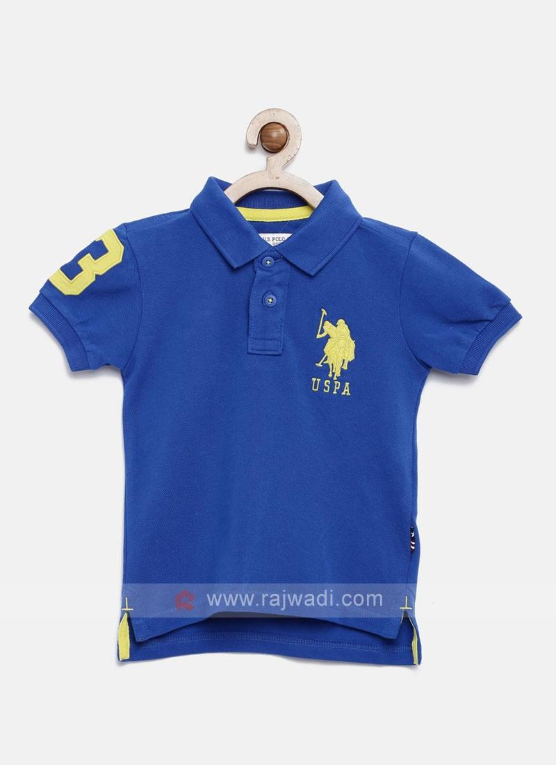 U.S. Polo Boys Blue Solid Polo T-shirt