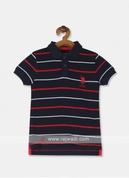 U.S. Polo Boys Navy Blue Striped Polo T-shirt.