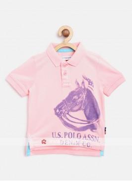 U.S. Polo Boys Peach & Purple Printed T-shirt