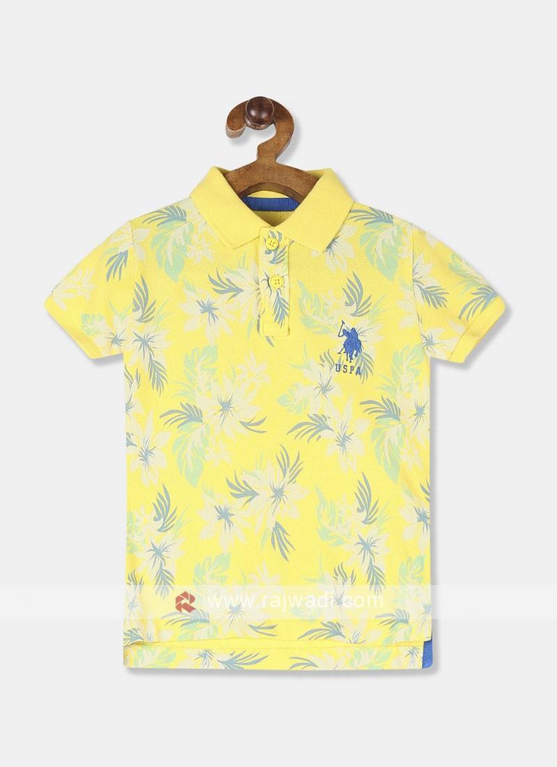 "U.S. Polo Kids Boys Yellow PrintedT-shirt"""