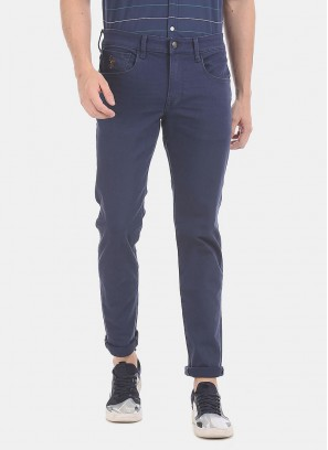 U.S.POLO Men Blue Brandon Slim Tapered Fit Rinsed Jeans