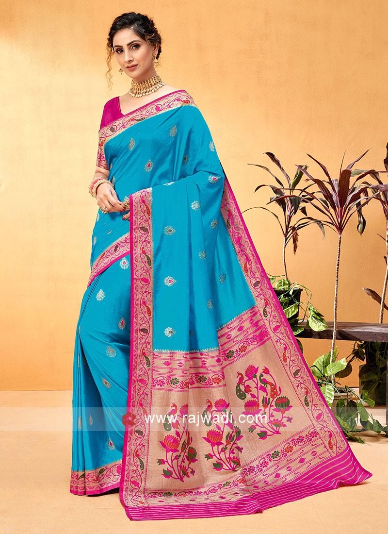 Unique Color Turquoise And Rani Banarasi Silk Saree