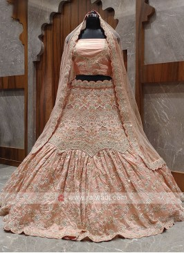 unique style Peach color bridal lehenga choli