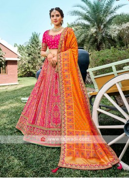 Silk Lehenga Choli In Rani  And Orange