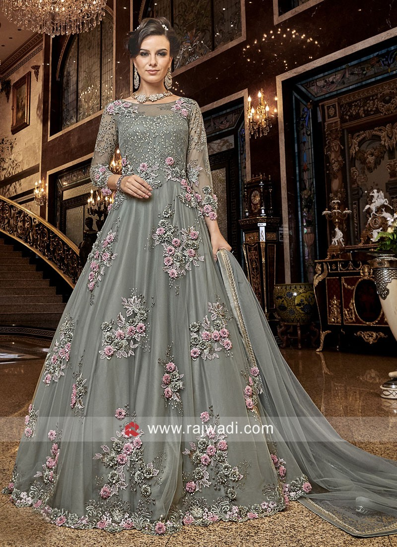 Unstitched Anarkali Salwar Kameez in Grey