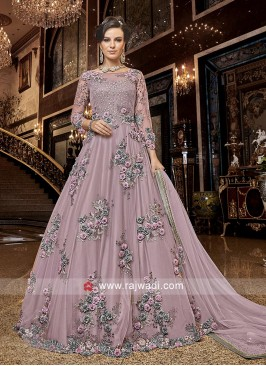 Unstitched Anarkali Salwar Kameez in Lilac