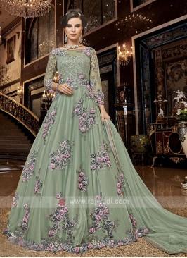 Unstitched Anarkali Salwar Kameez in Pista Green