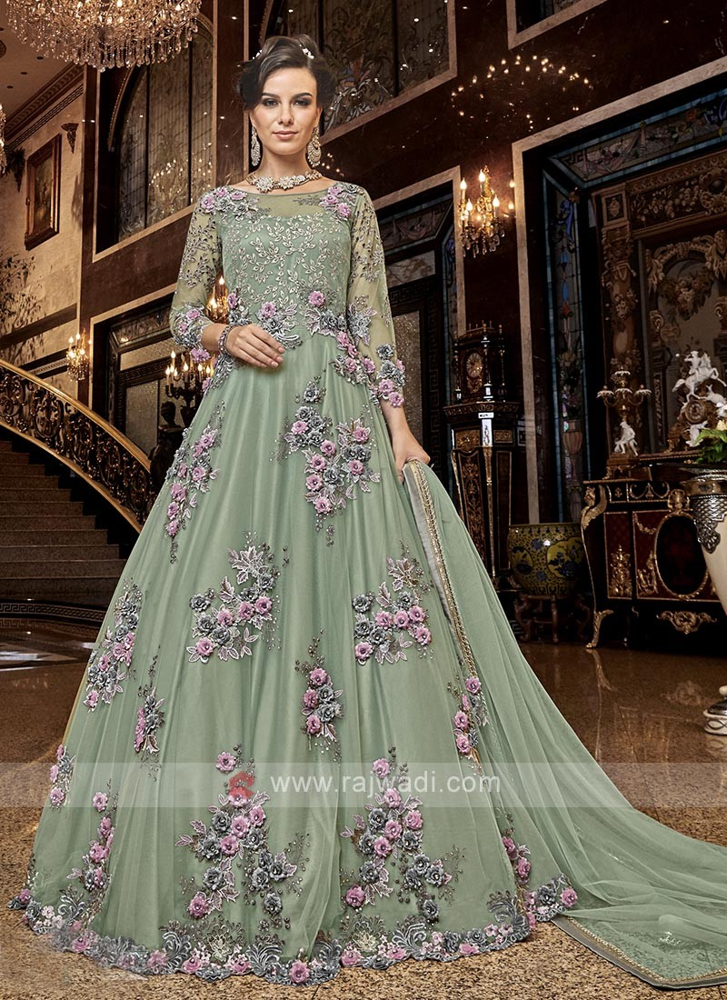 Unstitched Anarkali Salwar Kameez in Pista Green