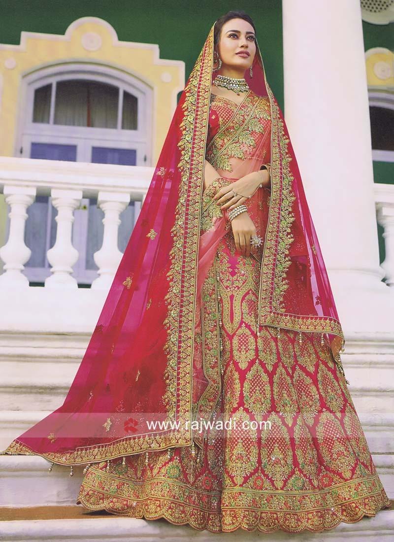 9875bff2d2 Unstitched Bridal Lehenga Choli. Hover to zoom