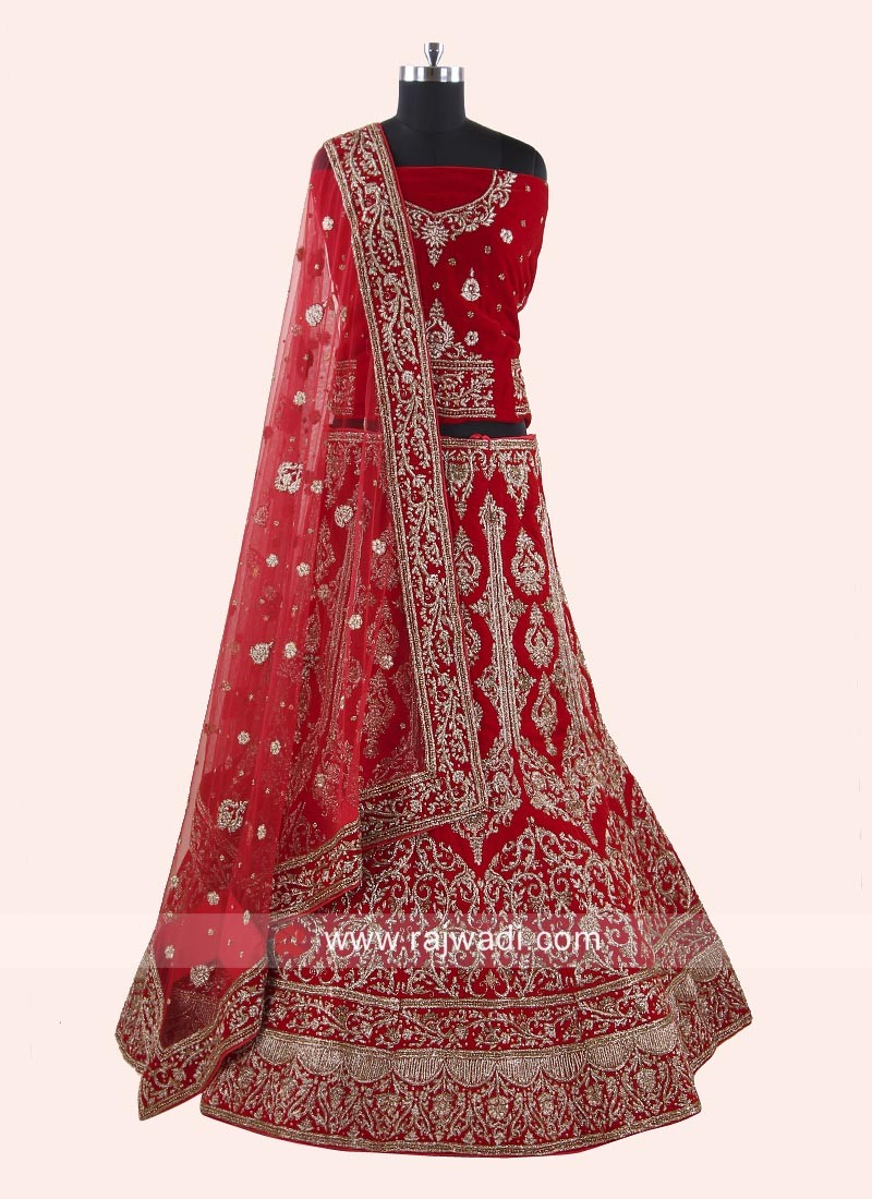 Unstitched Bridal Lehenga in Red