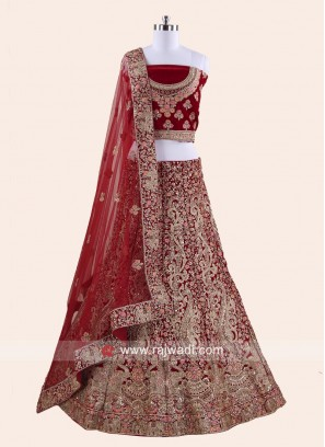 Bridal Velvet Lehenga Set with Dupatta