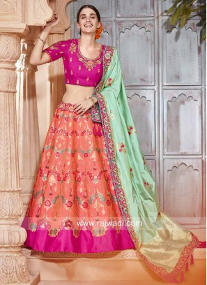Unstitched Brocade and Raw Silk Lehenga Set