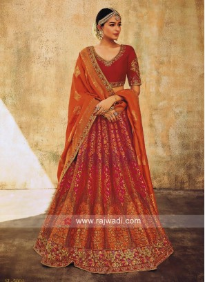 Unstitched Brocade Lehenga Choli