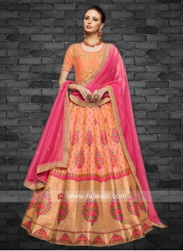 Unstitched Brocade Weaved Lehenga