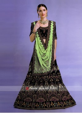 Unstitched Dark Green Heavy Lehenga Choli