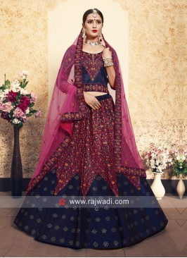 Embroidered Lehenga Choli in Royal Blue