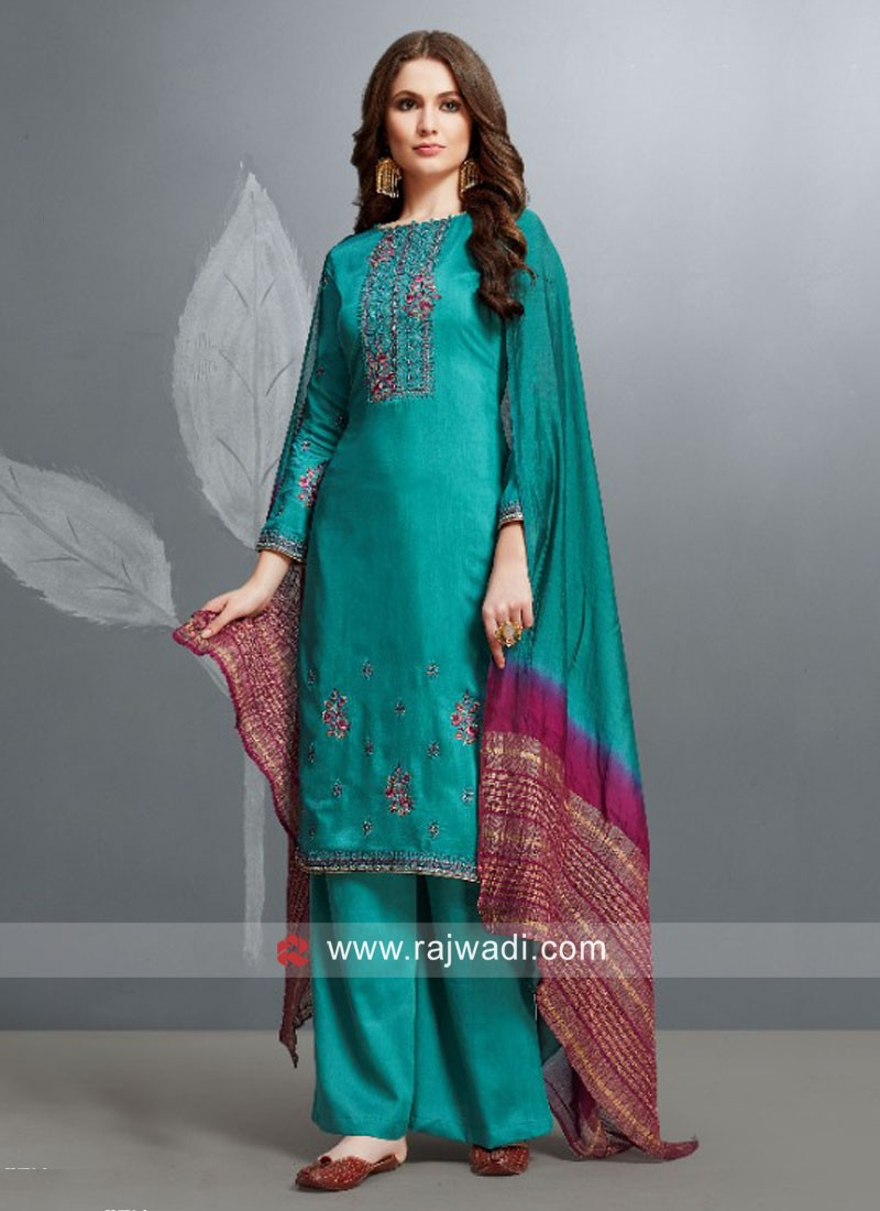 Unstitched Embroidered Palazzo Suit