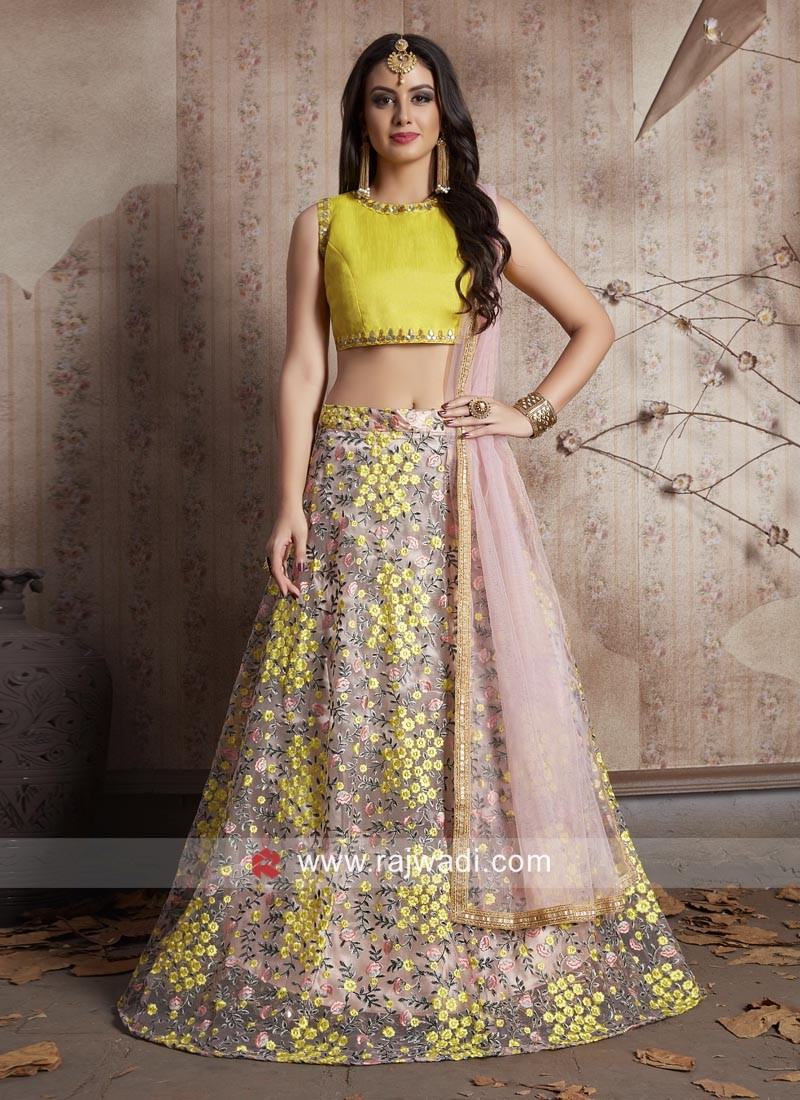 Unstitched Flower Work Lehenga