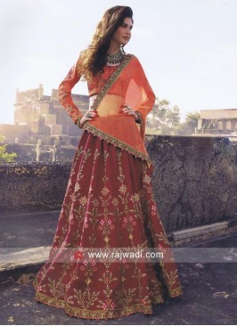 Unstitched Flower Work Lehenga Set