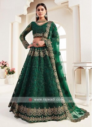 Unstitched Green Lehenga Choli