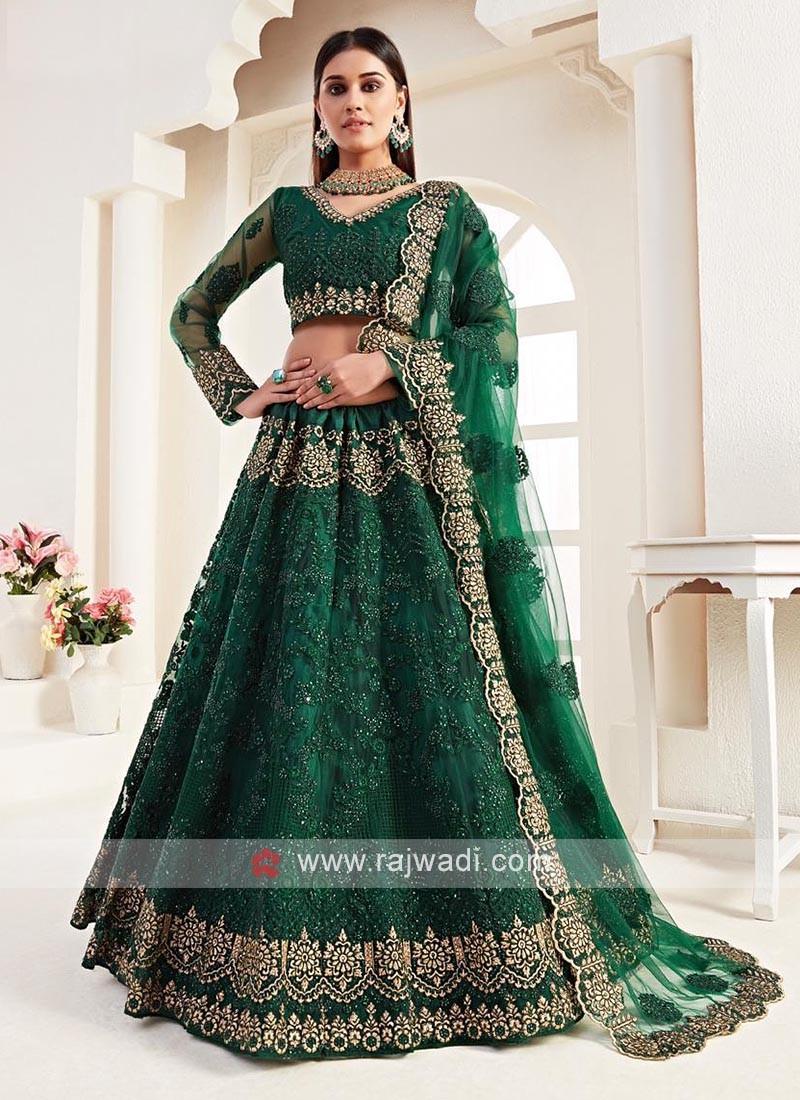 Unstitched Green Lehenga Choli