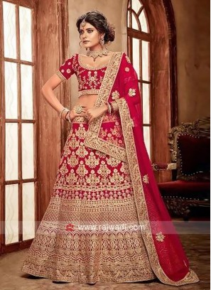 Heavy Embroidered Bridal Red Lehenga