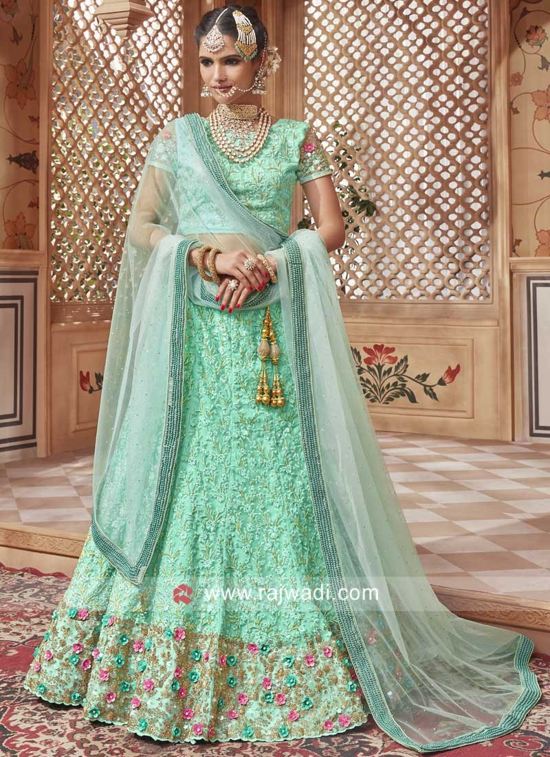 Unstitched Heavy Embroidered Lehenga