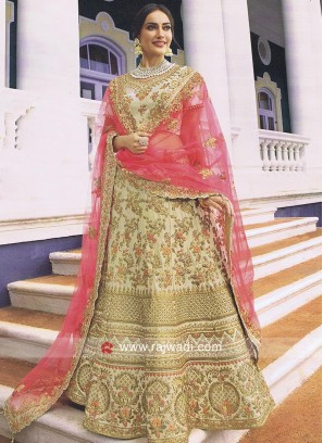 Unstitched Heavy Wedding Lehenga in Cream